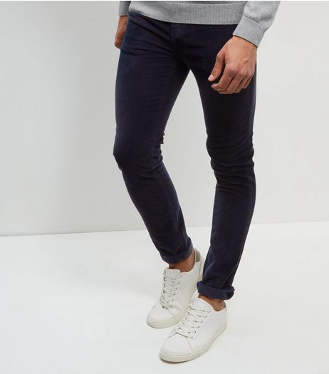 Navy Cord Skinny Stretch Trousers  | New Look