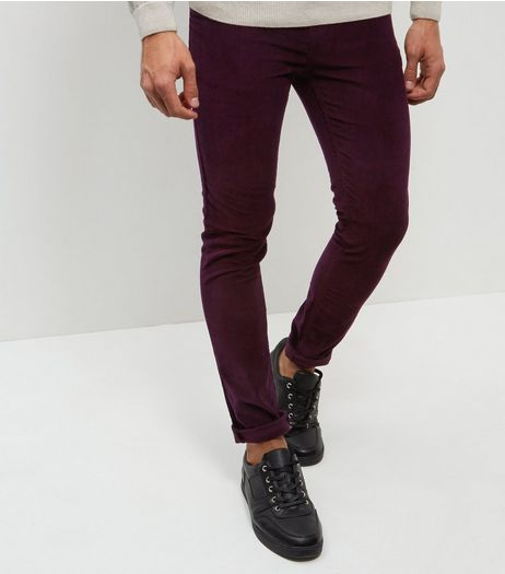 Burgundy Cord Skinny Stretch Trousers  | New Look