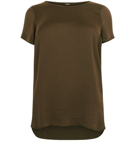 Curves Olive Green Sateen Dip Hem T-shirt | New Look