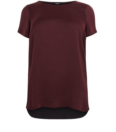 Curves Burgundy Sateen Dip Hem T-shirt | New Look