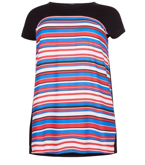 Curves Black Stripe Woven T-Shirt | New Look