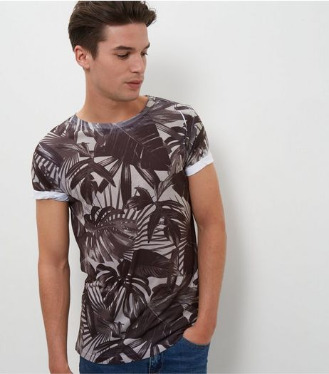 Green Contrast Tropical Print Roll Sleeve T-Shirt  | New Look