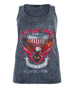Curves Dark Grey Americana Print Vest | New Look