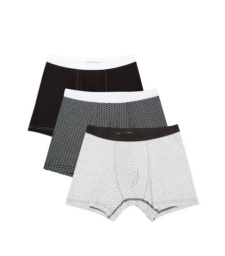 3 Pack Monochrome Geo Print Boxer Briefs | New Look