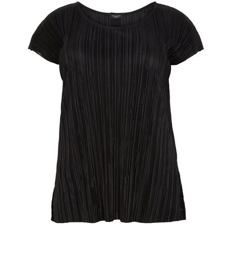 Curves Black Pleated T-Shirt | New Look
