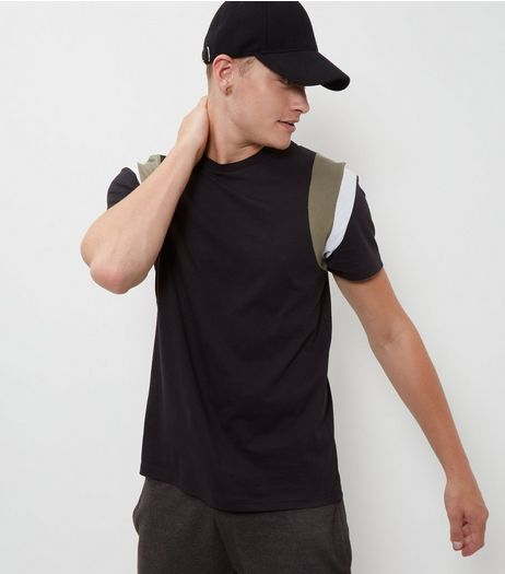 Black Shoulder Panel T-Shirt | New Look