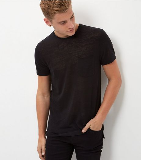 Black Single Pocket Raw Hem Longline T-Shirt  | New Look