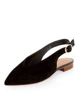 Black Premium Leather Sling Back Sandals  | New Look