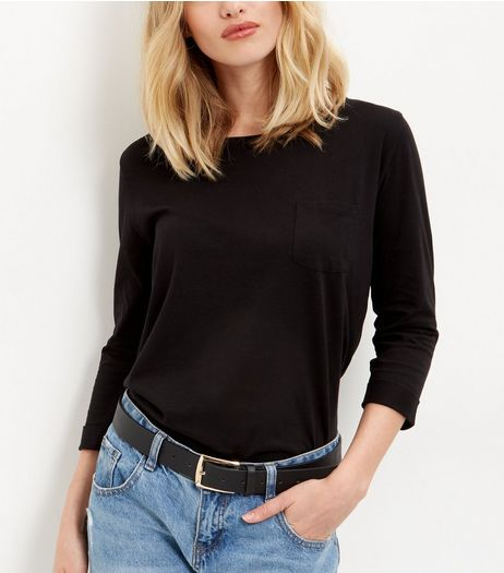 Black Single Pocket 3/4 Sleeve Top  | New Look