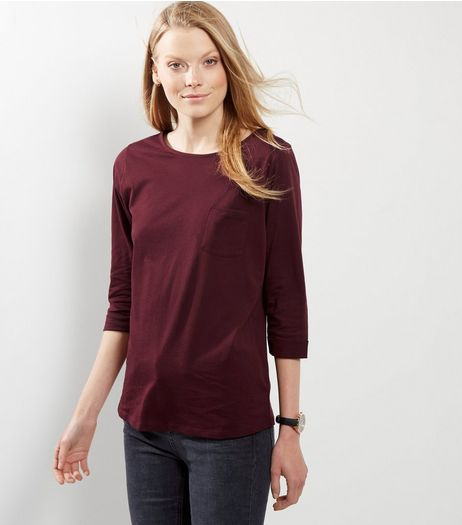 Burgundy 3/4 Sleeve T-Shirt  | New Look