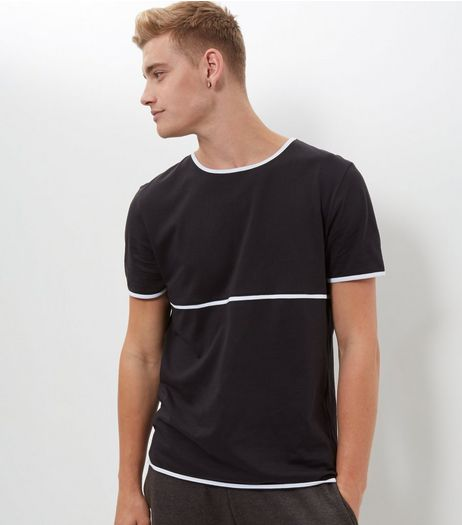 Black Panel Tape T-Shirt  | New Look