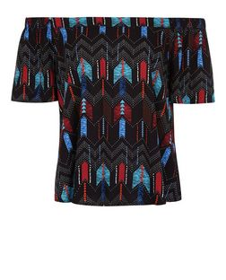 Black Aztec Print Bardot Neck Top | New Look