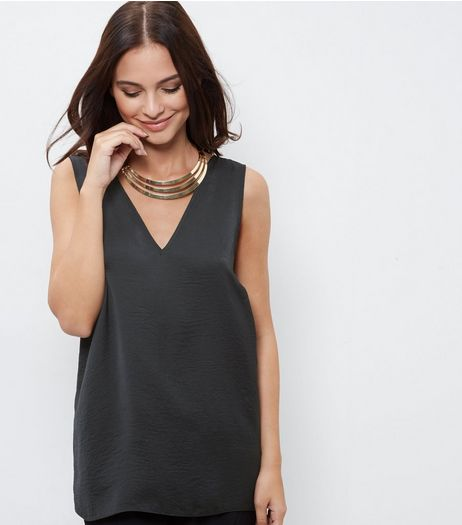 Black Sateen V Neck Sleeveless Top | New Look