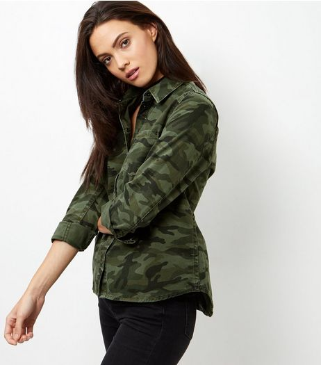 Green Camo Print Shirt  | New Look