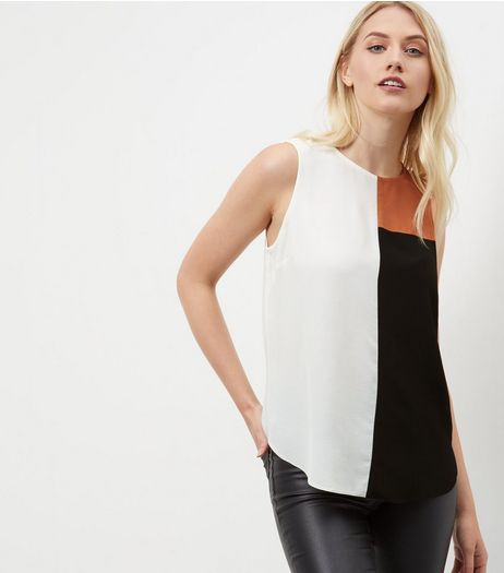 Tall White Colour Block Sleeveless Top  | New Look
