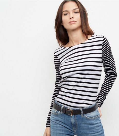 Black Stripe Print Long Sleeve Crew Neck Top | New Look