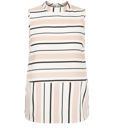 White Contrast Stripe Funnel Neck Sleeveless Top  | New Look