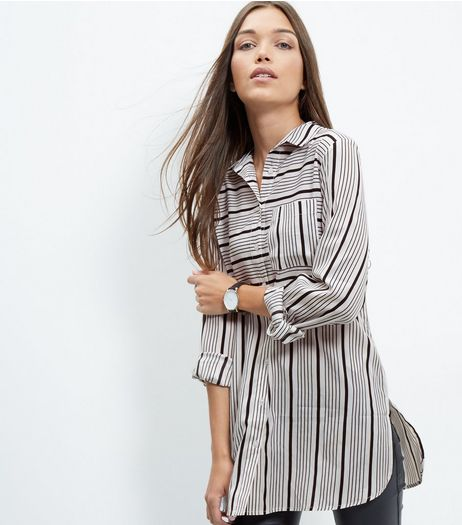 Tall White Stripe Split Side Long Sleeve Shirt | New Look