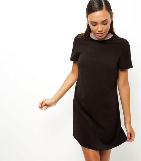Black Embellished Funnel Neck Shift Dress | New Look