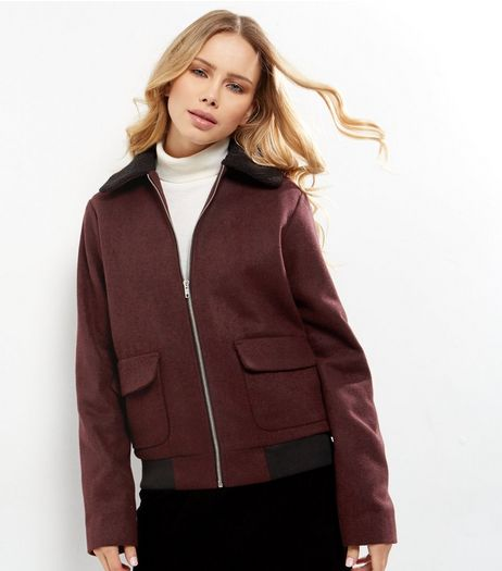 Tall Burgundy Borg Collar Bomber Jacket  | New Look