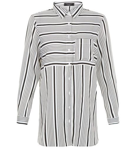 Petite White Stripe Long Sleeve Shirt | New Look