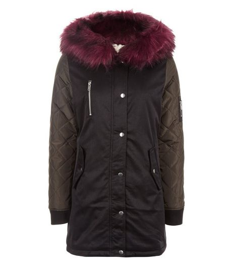 Teens Black Red Faux Fur Trim Hooded Parka | New Look
