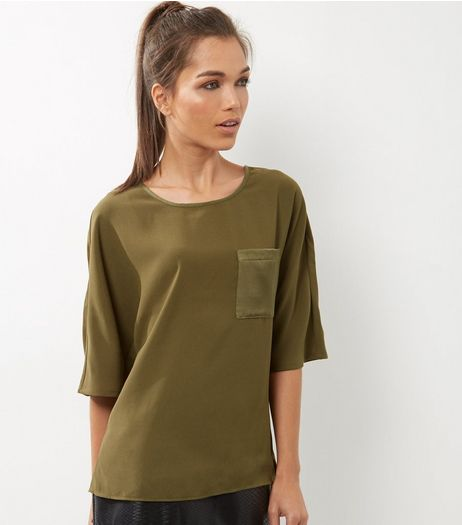 Tall Olive Sateen Single Pocket Front T-shirt | New Look