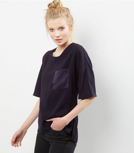 Tall Navy Sateen Single Pocket Front T-shirt | New Look