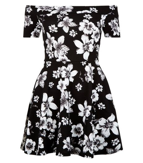 Teens Black Floral Print Bardot Neck Skater Dress | New Look
