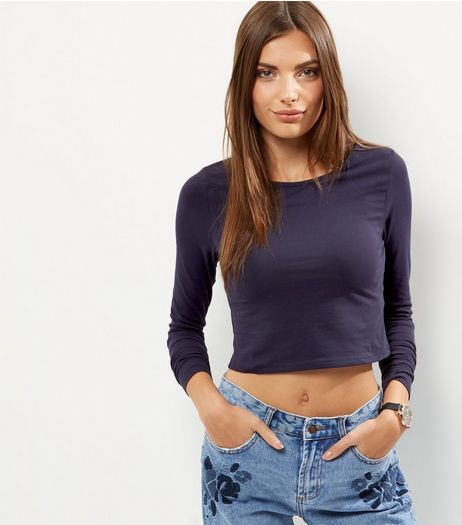 Navy Long Sleeve Crop Top  | New Look