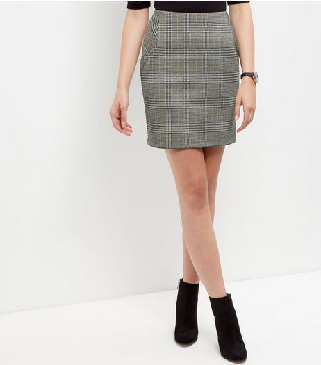 Brown Check Tube Skirt  | New Look