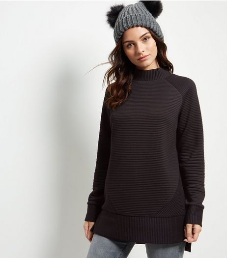 Black Ribbed Funnel Neck Long Sleeve Longline Sweater | New Look