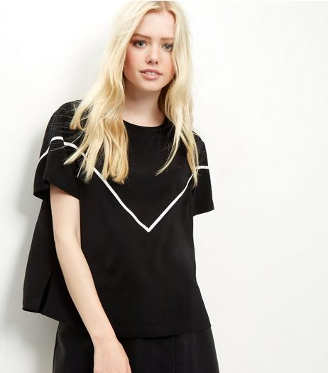 Black Contrast Chevron T-Shirt | New Look