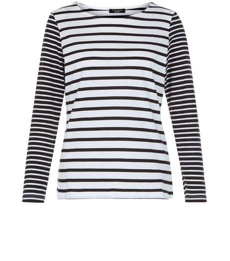 Petite Black Stripe Long Sleeve Top | New Look