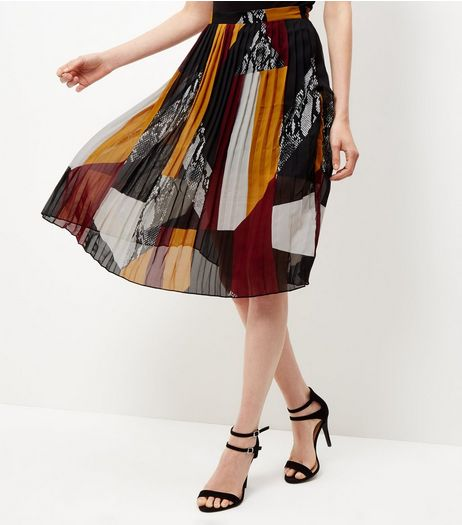 Burgundy Patchwork Pleated Midi Skirt  | New Look