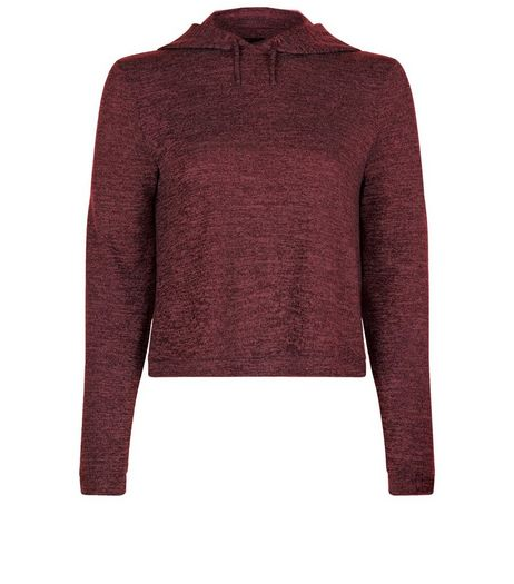 Teens Burgundy Cropped Long Sleeve Hoodie | New Look