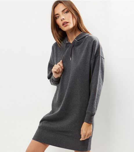 Dark Grey Oversized Long Sleeve Hoodie Dress | New Look
