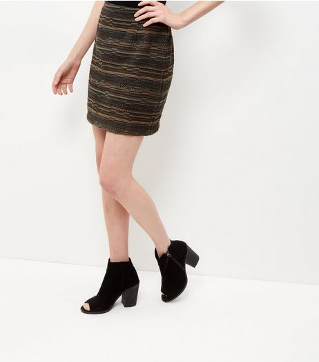 Green Jacquard Stripe A-Line Skirt  | New Look