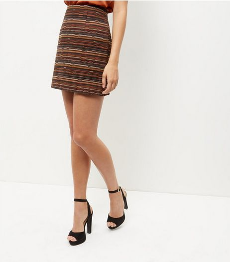 Orange Stripe Jacquard A-Line Skirt  | New Look