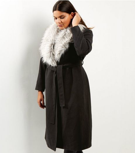 Curves Black Contrast Faux Fur Wrap Front Maxi Coat | New Look