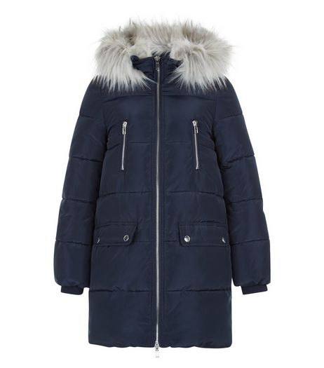 Girls Navy Faux Fur Trim Longline Coat | New Look