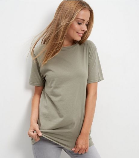 Olive Green Washed Boyfriend T-Shirt  | New Look