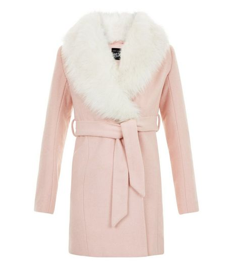 Girls Mid Pink Faux Fur Trim Belted Coat | New Look