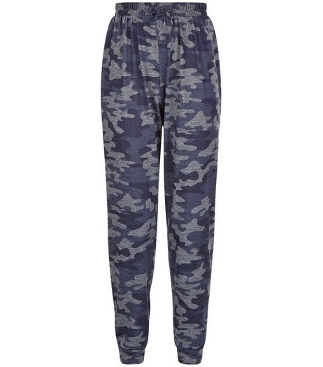 Teens Blue Camo Print Joggers  | New Look
