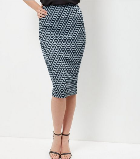 Blue Tile Print Pencil Skirt | New Look