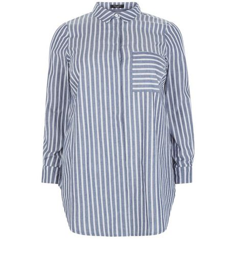 Curves Blue Stripe Cotton Shirt | New Look