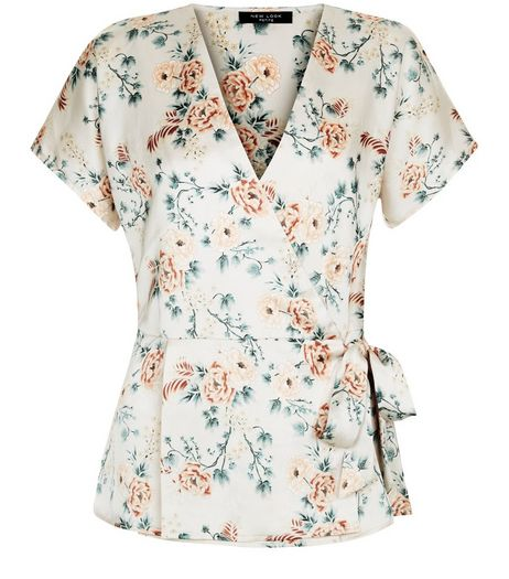 Petite Pink Floral Print Tie Side Wrap Top | New Look