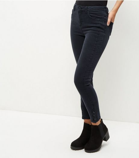 Black Button Cuff Skinny Jeans | New Look