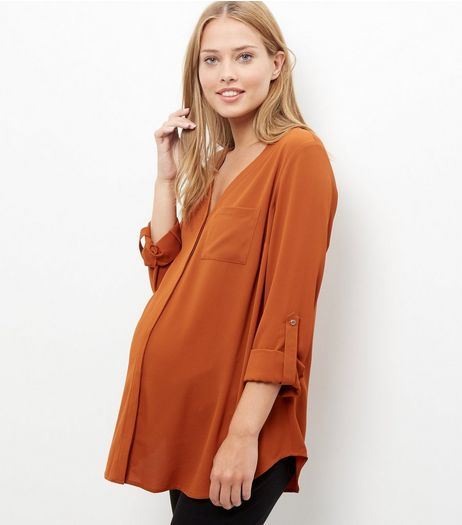 Maternity Rust Bubble Texture V Neck Roll Sleeve Shirt  | New Look