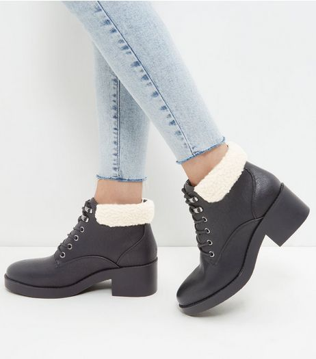 Black Shearling Top Lace Up Boots | New Look